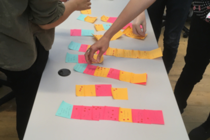 Sticky notes being grouped on a table during a values exercise and discussion at the Palante retreat