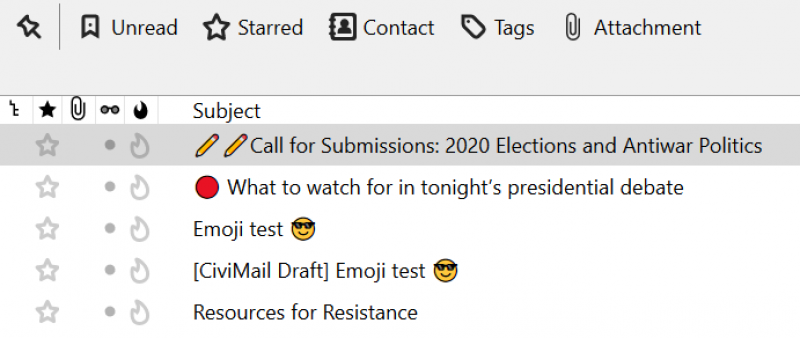 inbox showing subject lines with emoji