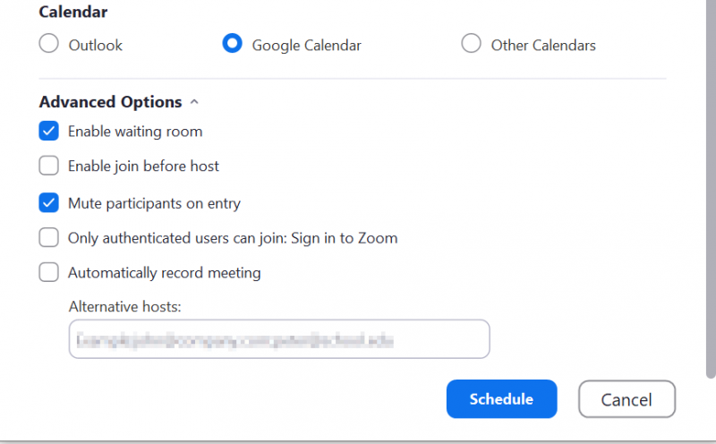 Screenshot of the Schedule Meeting screen in the Zoom Windows app